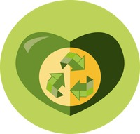 A heart and recycle symbol