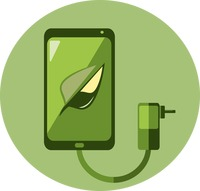 A smartphone, charger and leaf