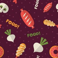 Assorted seamless food pattern background