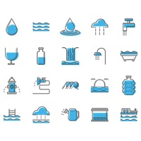 Assorted water icons set