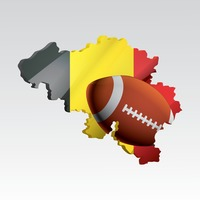 Belgium map with rugby ball