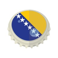 Bosnia and herzegovina flag on bottle cap