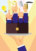 Businessmen raising hands