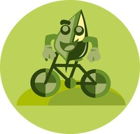 Cartoon leaf character riding a bicycle