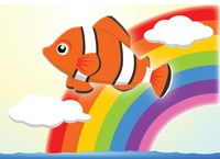Clown fish on a rainbow background