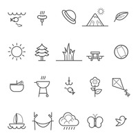 Collection of camping and nature icons