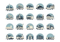 Collection of canada province landmarks