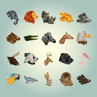 Collection of faceted animals