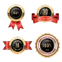 Collection of money back guaranteed badges