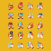 Collection of smartphone technology icons