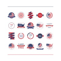 Collection of usa independence day labels