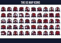 Collection of usa states maps