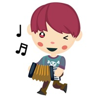 Cute boy playing music with an accordion