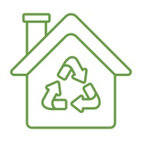 Eco home with recycle symbol