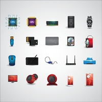 Electronic device icon set