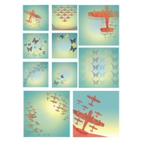Faceted glider planes and butterflies set
