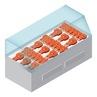 Fish meat in refrigerator