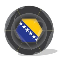 Football with bosnia and herzegovina flag