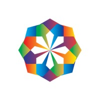 Geometric flower with rainbow colours