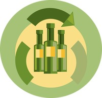 Glass bottles and recycle symbol