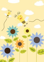 Happy ideas concept of flying lightbulb bees in a garden
