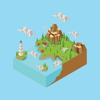 Isometric landscape with lighthouse