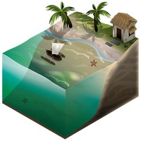 Isometric representation of beach and water