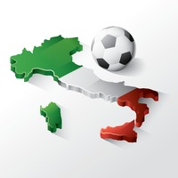 Italy map with football
