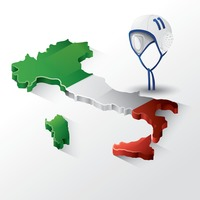Italy map with helmet