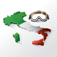 Italy map with motorcycle goggles