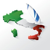 Italy map with surfboard