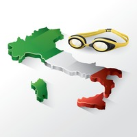Italy map with swimming goggles