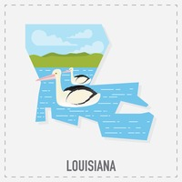 Louisiana map sticker
