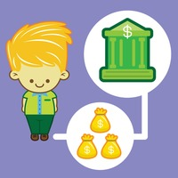 Man with money bag and bank icon