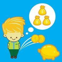 Man with money bag and piggy bank icon