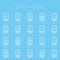Mobile shopping icon set