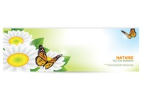 Nature banner with butterflies