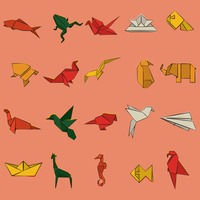 Origami bird and animal set
