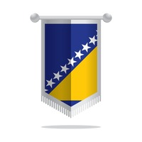 Pennant flag of bosnia and herzegovina