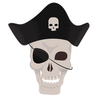 Pirate skull wearing pirate hat