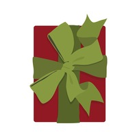 Red gift box with green ribbon