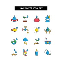 Save water icon set