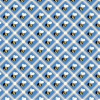 Seamless pattern of honeybees