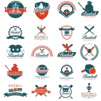 Set of baseball labels