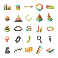 Set of business charts icons