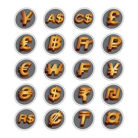Set of currency symbol icons