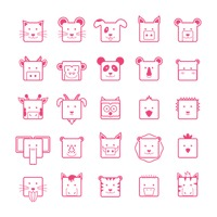 Set of cute animal faces icons