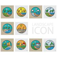 Set of landscape icons