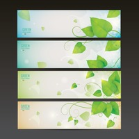 Set of leaves banners