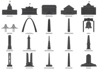 Set of usa monuments